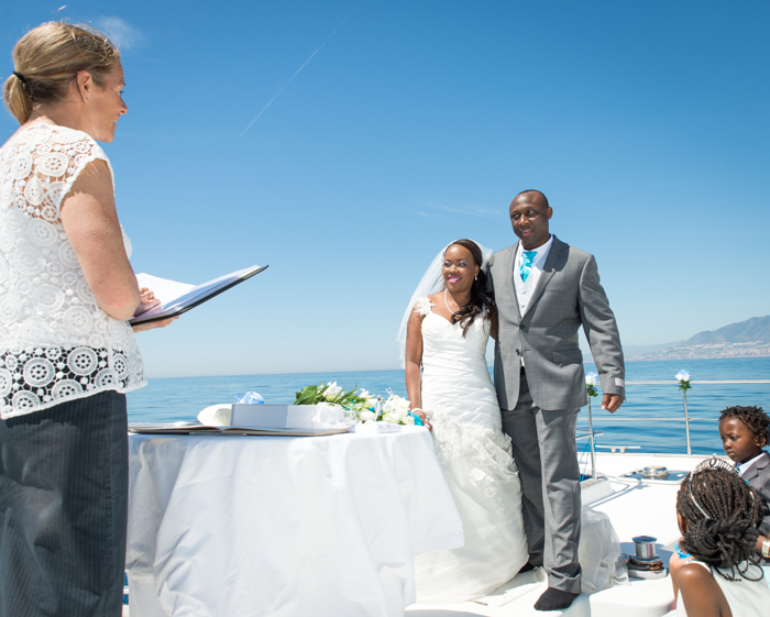 wedding ceremony on a boat